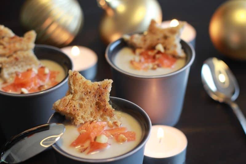 Crème de chou,fleur au saumon fumé