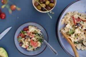 Salade de pâtes au chèvre et poivrons au Thermomix