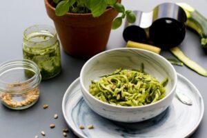 Recette Thermomix de spaghetti de courgettes au pesto