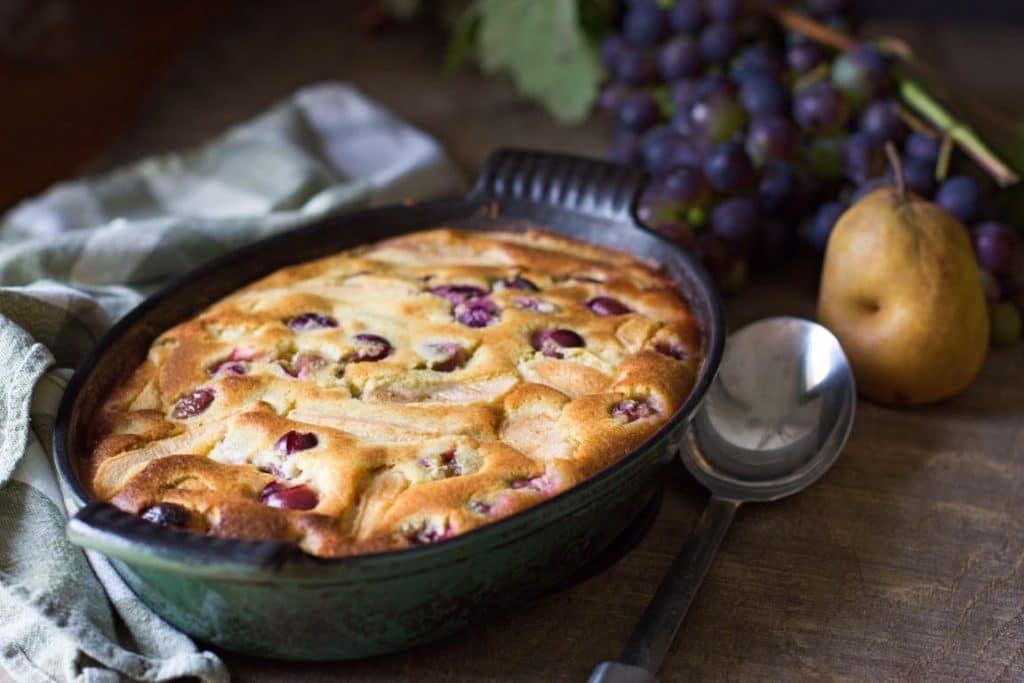 Clafoutis poire raisin sans gluten au Thermomix