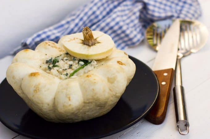 Recette Thermomix de pâtisson farci au risotto roquefort épinards