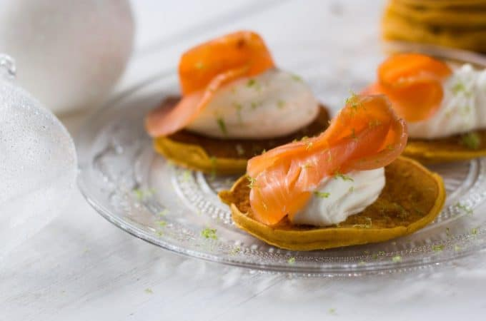 Blinis de patate douce au saumon fumé au Thermomix
