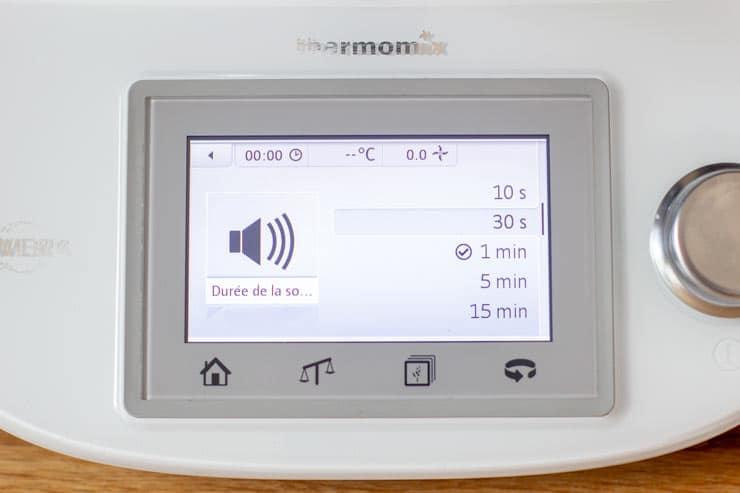 Réglage du son du Thermomix - Durée de la sonnerie 10s, 30s, 1 min, 2 min,, 5 min, 15 min