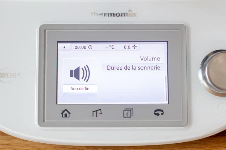 Réglage du son du Thermomix - Durée de la sonnerie