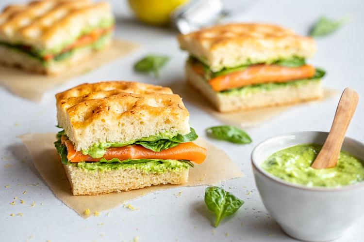 Sandwich de focaccia truite fumée au Thermomix