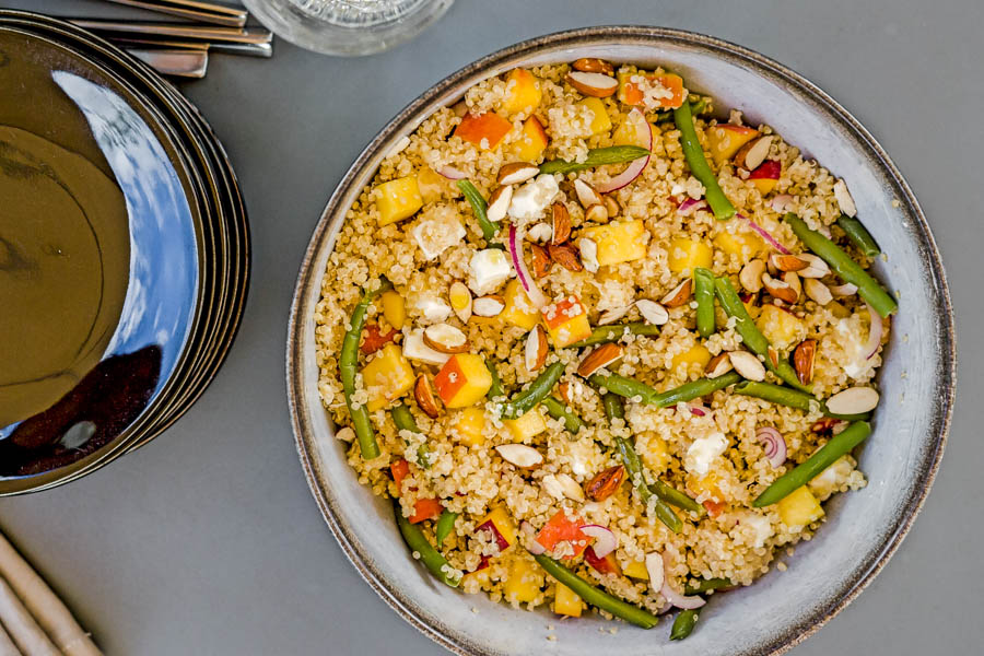 Salade quinoa nectarine feta et haricots verts au Thermomix